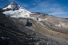 Shrinking glacier on Mount Hood, Oregon. Mt. Hood in the Cascade Range of the Pacific Northwest, with melting glaciers Royalty Free Stock Photography