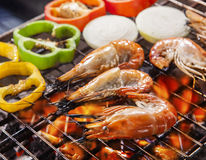 Shripm ,prawns grilled on barbe cue stove fire with chilly and o Royalty Free Stock Images
