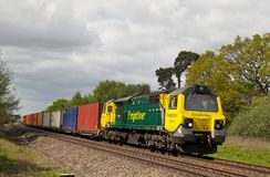 Diesel intermodal freight train Royalty Free Stock Images