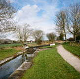 Shropshire Union Canal in Wales. Lock on the Shropshire Union Canal (Montgomery branch), near Lllanymynech, Wales, UK Royalty Free Stock Image