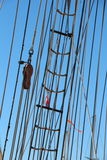 Shroud, sail and rope ladder of a sailboat Stock Photo