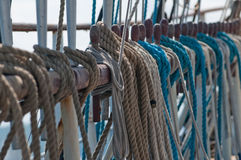 Shrouds of a sailing ship Stock Images