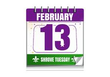 Shrove Tuesday calendar 2018. Holiday date in calendar. 13th of February. Mardi Gras also called Shrove Tuesday or Fat Tuesday. Vector illustration isolated on Stock Images