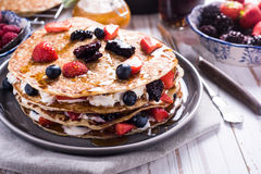 Shrove Tuesday, pancake day. With berry fruits Royalty Free Stock Image