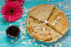 Shrove Tuesday, pancake day, Breakfast, top view, a bouquet of daisies Stock Photography