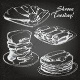 Shrove Tuesday sketch1. Vector illustration of Russian blini, hand drawn sketch. For Shrovetide Maslenitsa card on chalk-board Stock Image