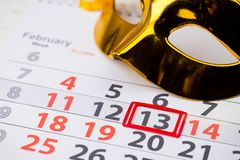 Shrove Tuesday, World radio day, International Pancake Day. February 13 mark on the calendar, close-up stock photo