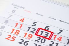 Shrove Tuesday, World radio day, International Pancake Day. February 13 mark on the calendar, close-up stock photography