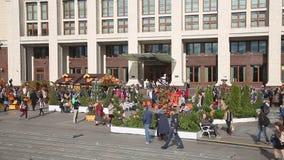 Shrovetide在Manezhnaya广场的莫斯科 影视素材