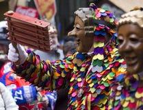 Shrovetide庆祝和五颜六色的街道游行 库存图片