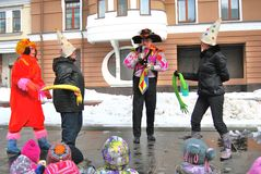 Shrovetide庆祝在莫斯科 免版税库存图片