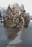 Украшение праздника на торжестве Shrovetide (недели блинчика) в Москве Стоковые Изображения