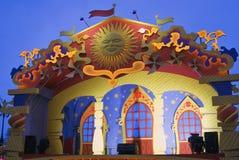 Shrovetide decors on Manezhnaya Square. Royalty Free Stock Images