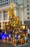 Shrovetide decors on the tree. Shrovetide celebration in Moscow city center Royalty Free Stock Photography