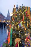 Shrovetide decors on the tree. Shrovetide celebration in Moscow city center Stock Images