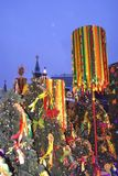 Shrovetide decors on the tree. Shrovetide celebration in Moscow city center Stock Photo