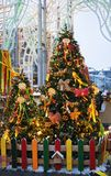 Shrovetide decors on the tree. Shrovetide celebration in Moscow city center Royalty Free Stock Images