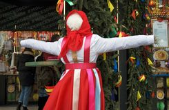 Shrovetide doll. Shrovetide celebrations in Moscow. Color photo. Shrovetide doll is a symbol of the holiday, a doll which is to be burned on the final day of Royalty Free Stock Photos
