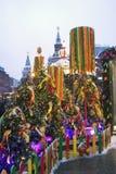 Shrovetide garneringar Shrovetide beröm i den Moscow staden centrerar Royaltyfri Bild