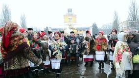 Shrovetide (Maslenitsa)庆祝在基辅,乌克兰, 股票视频