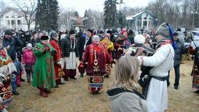 Shrovetide (Maslenitsa)庆祝在基辅,乌克兰, 股票录像