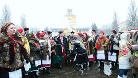 Shrovetide (Maslenitsa) celebration in Kiev, Ukraine, stock video