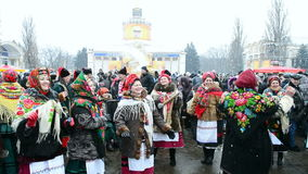 Shrovetide (Maslenitsa) celebration in Kiev, Ukraine,. KIEV, UKRAINE-MAR 16: Shrovetide (Maslenitsa) celebration organized by STB channel in 2013. Maslenitsa ( stock video footage