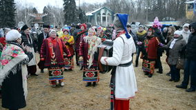 Shrovetide (Maslenitsa) celebration in Kiev, Ukraine,. KIEV, UKRAINE-MAR 16: Shrovetide (Maslenitsa) celebration organized by STB channel in 2013. Maslenitsa ( stock video