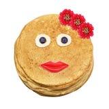 Shrovetide, Maslenitsa, fishnet pancakes Stock Photo
