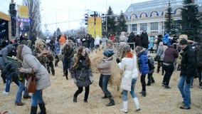 Shrovetide (Maslenitsa) in Kiev, Ukraine, stock footage