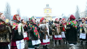 Shrovetide (Maslenitsa) viering in Kiev, Ukrai stock videobeelden