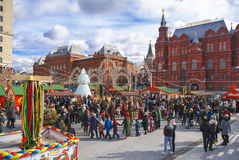 Shrovetide in Moscow on Manege square. Children dance in a circle Royalty Free Stock Photos