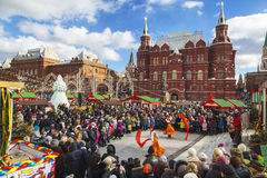 Shrovetide in Moscow on Manege Square, performance Stock Images