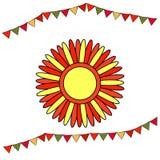 Shrovetide o Maslenitsa Sole stilizzato con i raggi rossi e gialli Festa nazionale russa degli elementi Carte educative o saluto royalty illustrazione gratis