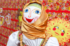 Shrovetide in Russia. Big doll for the burning as symbol of wint Stock Photography