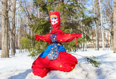 Shrovetide in Russia. Big doll for the burning. Maslenitsa or Pa Stock Photos