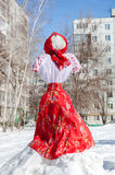 Shrovetide in Russia. Big doll for the burning. Stock Images