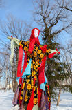 Shrovetide in Russia. Big doll for the burning Stock Photo