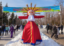 Shrovetide in Russia. Big doll for the burning Stock Images