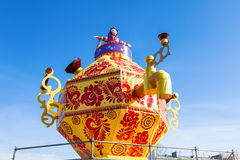 Shrovetide in Russia. Big improvised samovar against the blue sky Stock Photos