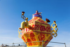 Shrovetide in Russia. Big improvised samovar over blue sky Royalty Free Stock Image