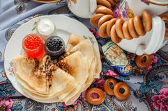 Shrovetide. Russian pancake festival. Royalty Free Stock Photography