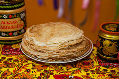 Shrovetide. Russian pancakes. Pancake week royalty free stock photo