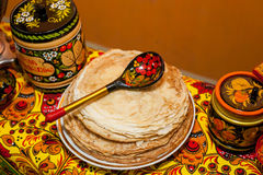 Shrovetide. Russian pancakes. Pancake week stock photo