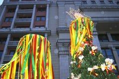 Shrovetide symbol Shrovetide beröm i den Moscow staden centrerar Arkivfoto