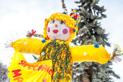 Shrovetide time in Russia. Colorful original doll for burning. Russia, Yaroslavl 16 of February 2015 Stock Photography
