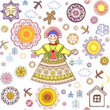 Shrovetide wallpaper with abstract pattern and girl Royalty Free Stock Images