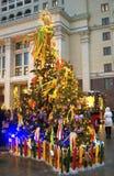 Shrovetidedecors op de boom De viering van Shrovetide in de stadscentrum van Moskou Royalty-vrije Stock Fotografie