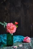 Shrub roses in vase Stock Photo