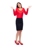Shrugging business Woman. Woman in red is shrugging isolated on white Royalty Free Stock Photography